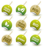 Vector etiquetas orgânicas verdes ilustração royalty free