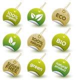 Vector etiquetas orgânicas verdes Imagem de Stock
