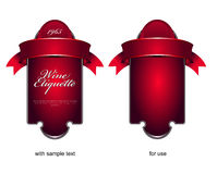 Vector etiquette background for wine or chocolate. Vector red etiquette background for wine or chocolate Royalty Free Stock Photo