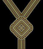 Vector Etnisch halsbandborduurwerk voor maniervrouwen Druk van het pixel de stammenpatroon of Webontwerp juwelen, stock foto