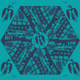 Vector Etnische Stammenmandala with mythical animals Zwart Mandala Geometric Round Ornament Ethnic-Motief Stock Foto