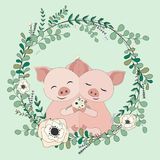 2018.02.23_pig_eucalyptus. Vector eucalyptus and flower wreath.Greeting card. Hand drawn vector illustration with cute pigs in flowers stock illustration
