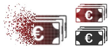 Dispersed Pixel Halftone Euro Banknotes Icon. Vector Euro banknotes icon in sparkle, pixelated halftone and undamaged whole versions. Disintegration effect Stock Illustration