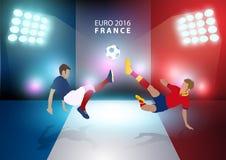 Vector Euro Frankreich-Fußballmeisterschaft 2016 mit Fußballspielern Lizenzfreie Stockbilder