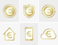 Vector euro logo. Euro icon. Euro cloud icon. Euro shield icon. Euro phone icon. Euro house icon. Vector euro design Stock Photos