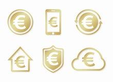 Vector euro logo. Euro icon. Vector euro design elements, badges, labels. Royalty Free Stock Photo