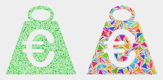 Vector Euro Mass Mosaic Icon of Triangle Items. Euro mass collage icon of triangle items which have variable sizes and shapes and colors. Geometric abstract stock illustration