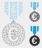 Vector euro Mesh Wire Frame Model de la medalla del honor e icono del mosaico del triángulo libre illustration