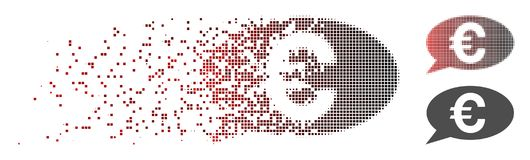 Broken Pixel Halftone Euro Message Icon. Vector Euro message icon in dissolved, dotted halftone with red to black horizontal gradient and undamaged whole Stock Photos
