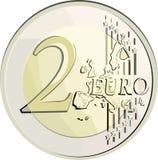 Vector euro muntstuk 2. Royalty-vrije Stock Foto's