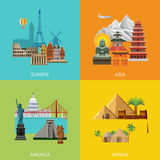 Vector Europe Asia America Africa travel vacation landmark Stock Photos