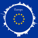 Vector Europe Circular background. With skylines of europeans capitals and flag Stock Photography