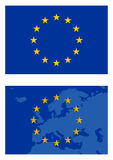 Vector europe flag and map isolated on white Royalty Free Stock Photos