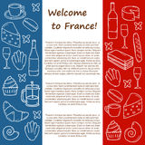 Vector Europe France travel concept with cartoon Royalty Free Stock Photo