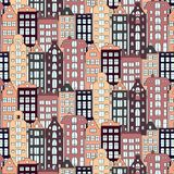 Vector Europe houses and building illustration. Urban pattern style. Street modern cottage exterior texture Royalty Free Stock Photo