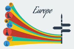 Vector europe safari. Adventure travel tourism. Flat graphics eps10 Royalty Free Stock Photos