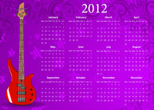 Vector European calendar 2012 with bass guitar. Starting from Mondays vector illustration