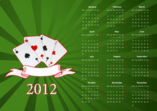 Vector European calendar with cards. Over green background stock illustration
