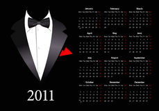 Vector European calendar with elegant suit. Starting from Mondays Royalty Free Stock Image