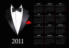 Vector European calendar with elegant suit Royalty Free Stock Image