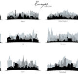 Vector european coutries silhouettes stock illustration
