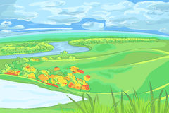 Vector European flat landscape with river Stock Photography