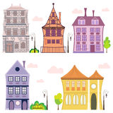 Vector european houses. Set of houses in different colours with trees and lanterns  on white Stock Photography