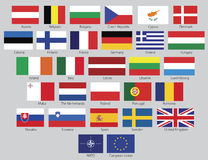 Vector European Union flags Stock Images