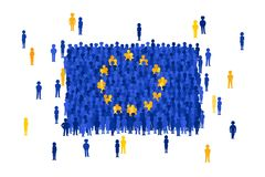 Vector European Union state flag formed by crowd of cartoon people vector illustration