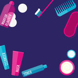 Vector evening beauty routine illustration set in flat style Royalty Free Stock Photos