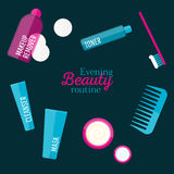 Vector evening beauty routine illustration set in flat style Royalty Free Stock Image