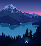 Vector evening camp near beautiful mountains lake. Adventure camping scene with tent, campfire and woodland landscape Royalty Free Stock Image