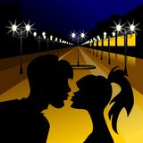 Vector Evening meeting of lovers Stock Photo