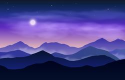 Vector evening or night landscape with blue and violet silhouettes of mountains and starry sky with moon.  royalty free illustration
