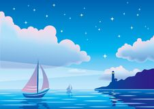 Vector evening seascape with sailboat, lighthouse and clouds in Royalty Free Stock Photography
