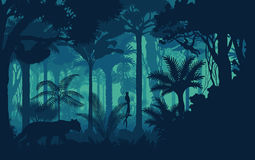 Vector evening tropical rainforest Jungle background with jaguar, sloth, monkey and qetzal royalty free illustration