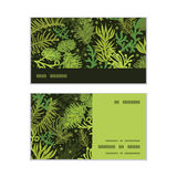 Vector evergreen christmas tree horizontal stripe. Frame pattern business cards set graphic design Royalty Free Stock Photo