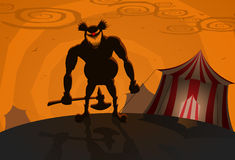 Vector evil clown with circus on background. Halloween theme Royalty Free Stock Photography
