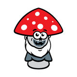 Vector Evil Mushroom Cartoon Illustration. Stock Image