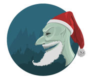 Vector evil Santa Claus in red hat. With horror background Royalty Free Stock Image
