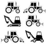 Vector excavator end bulldozer Royalty Free Stock Photography