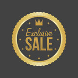 Vector Exclusive Sale Gold Sign, Round Label Stock Images
