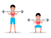 Vector exercise squatting with a barbell. Vector illustration of a cartoon girl crouching with a heavy barbell on her shoulders.  white background. Exercise Stock Images