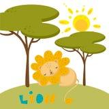 Vector exhausto de la mano de un león lindo en naturaleza libre illustration