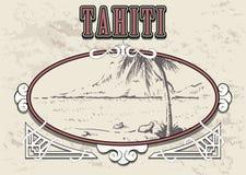 Vector exhausto del bosquejo de la mano de Tahití del Palm Beach ilustración del vector