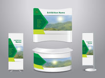 Vector exhibition stand with cove mountain landscape background Royalty Free Stock Photos