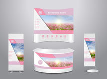 Vector exhibition stand with cover spring flower field background Royalty Free Stock Image