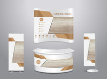 Vector exhibition stand with cover wood background Stock Images
