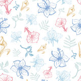 Vector Exotic Florals Drawing Seamless Pattern Royalty Free Stock Images