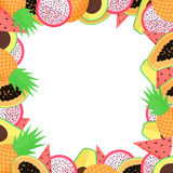Vector exotic fruit frame with papaya, avocado, pineapple, dragon fruit and watermellon Royalty Free Stock Photo